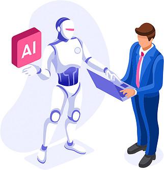 AI Online Writing Helper - Bot Helping Man Write Web Content