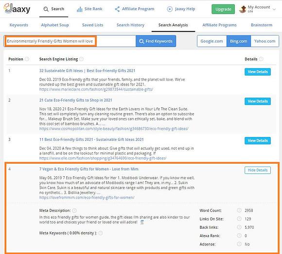 Jaaxy Keyword Research Tool - Keyword Search Analysis