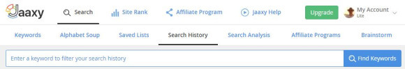 Jaaxy keyword search history