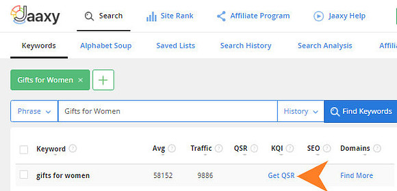 Jaaxy Keyword Research Tool - Quoted Search Results