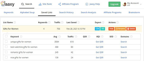 Jaaxy Keyword Research Tool - What Is A Keyword List? Example